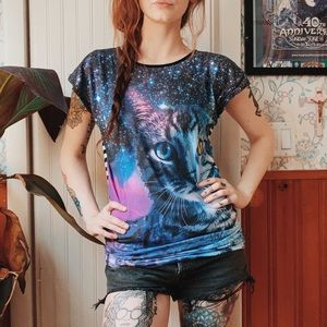 Hot Topic Galaxy Cat Striped Short Sleeve Boxy Top